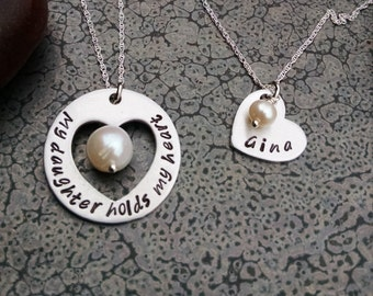 Mother Daughter Jewelry My Daughter Holds my Heart Hand Stamped Mother Daughter Necklaces Sterling Chains