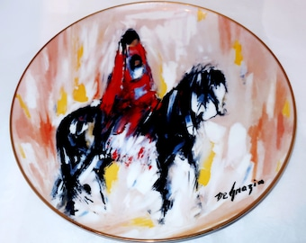 1986 DeGrazia MORNING RIDE PLATE De Grazia Paints The West Limited Edition 2964/7500 Native American Mother Child on Horse Mint In Box Gift