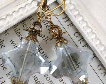 Blue Crystal Earrings Victorian Downton Abbey Inspired Jewelry Gift For Her