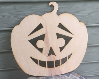Sarcastic Face Wooden Pumpkin Sign - Small - 5mm Thick Plywood Unfinished