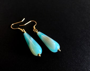 Agate Earrings. Silver, gilded.