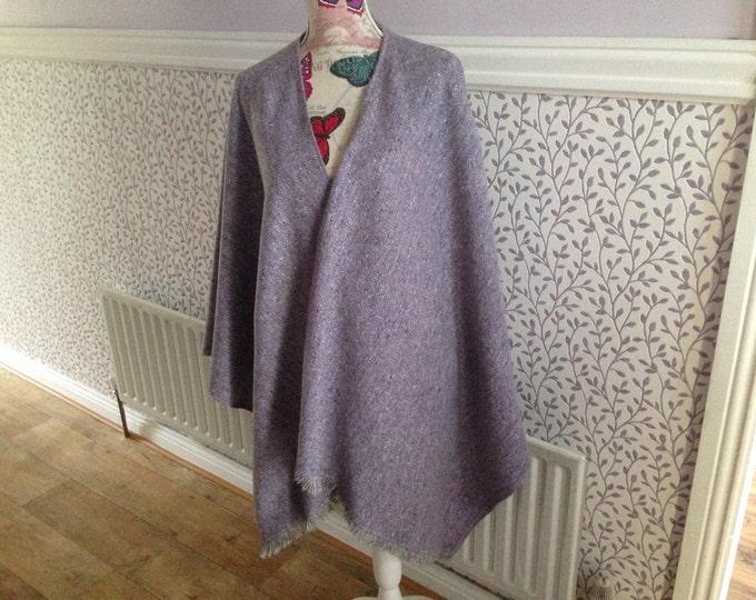 Irish Shawl - Celtic Wrap Ruana - 100% Irish Wool - Light Purple Tweed with white - Exclusive to our store