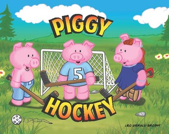 Kids Book Piggy Hockey. For children 4-6. 24 Colour Pages. Digital Pdf Edition