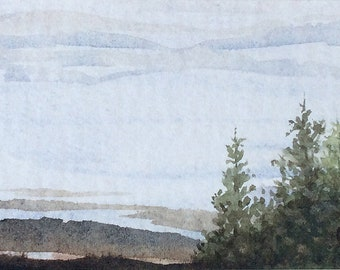 Original watercolor ACEO painting - Misty horizon