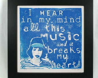 Regina Spektor lyrics reduction linocut print I Hear in My Mind All this Music