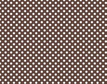 "Brown Small Dots 1/4"" by Riley Blake Designs - White on Brown polka dots- Quilting Cotton Fabric - choose your cut"