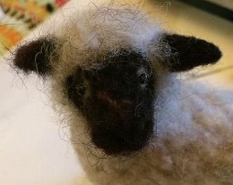 Needle felted handmade black faced sheep
