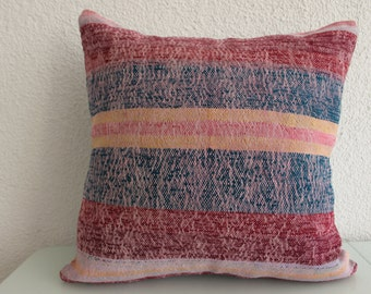 Anatolian Turkish Striped Kilim Pillow 20x20 Vintage Kilim Pillow Throw Pillow Home Decor Striped Pillow Handwoven Kilim Pillow  548