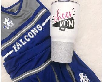 Cheer Mom - Steel Tumbler - Glitter Tumbler - Glitter Dipped - Glitter Cup - Cheer - Mom Life - Cheerleader - Megaphone - Motherhood