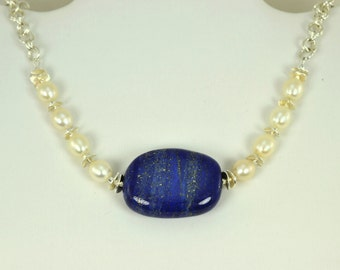 Lapis Lazuli Necklace - Sterling Silver Necklace - Lapis, Freshwater Pearl - Chainmaille - Bold - Statement - Birthday Gift - Anniversary