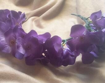 Purple Flower Crown Flower Girl Headband Silk Flower Halo Boho Festival Floral Headband Bridesmaid Silk Hair Wreath