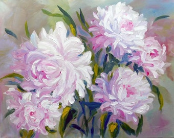 """Peonies Original oil painting pink flowers roses on STRETCHED CANVAS  size 20"""" X 16""""  No.04-01 ready to hang"""