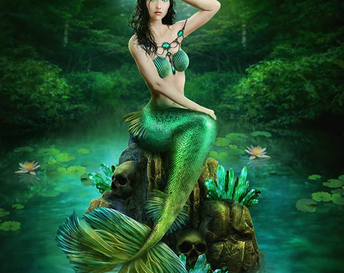 Fantasy green mermaid with skulls art print wall poster
