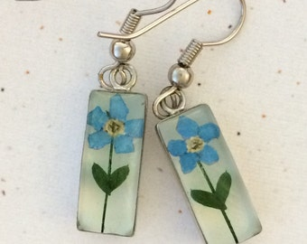 Forget Me Not Earrings - Real flowers preserved in resin - Rectangle pair with blue flowers and leaves, Nickel free, Wildflowers, Alaska