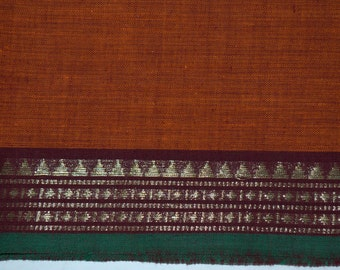 Handloom cotton fabric in Orange and Maroon- One yard Yard - VMC 5