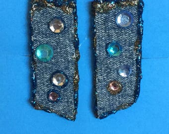 Denim blue jean fabric clip on accented with blue, soft pink & Bling#C13