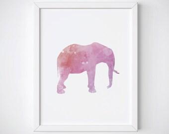 Elephant Watercolor Art Print, Elephant Nursery Wall Art, Elephant Watercolor Nursery Print, Animal Watercolor Printable, Pink Poster