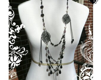 Gothic Black Vampire Lace Layered Necklace