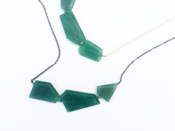 Geometric Aventurine Slab Statement Necklace // 14k Gold Filled or Oxidized Sterling Silver // Gifts for Her // Bib & Collar Necklace //