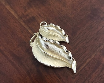 Gold Tone Double Leaf Brooch Pendant