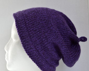Knit Slouchy Hat, Slouchy Beanie, Women's Slouchy Hat, Purple Slouchy Hat, Gender Neutral Hat, Men's Slouchy Beanie
