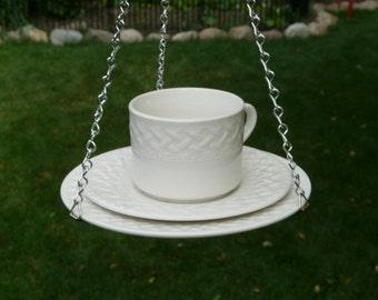 Cup, Saucer, Plate Bird Feeder, White Lattice