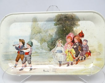 Vintage French Tray, Antique Lithographed Tin, Massilly France, Children on Parade Toy