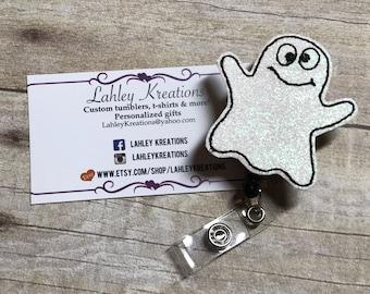 Halloween Ghost badge reel, badge holder, Feltie badge, retractable ID Badge, ghost badge reel