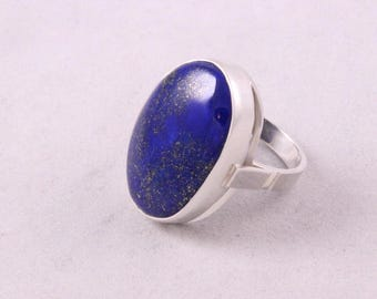 LAPIS LAZULI & Sterlig Silver 925 Artisan Hand Made Lady's RING