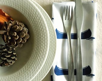 Organic cotton napkins, dinner napkins, cloth napkins, organic cotton, set of 4, canoes, wedding napkins, cool napkins, cottage, lakehouse