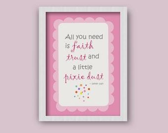 Pixie Dust, Fairy Inspiration, Little Girl's Gift, Printable