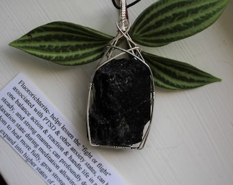 Veteran's Day Sale - Fluororichterite Wire Wrapped Sterling Silver Necklace for PTSD
