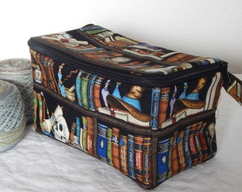 """Zippered project yarn box, double wide, 10"""" x 5.5"""" sock box bag, knitting, crochet, embroidery, Harry Potter, The Restricted Section"""