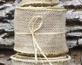 "Burlap Wired Ribbon, 2 1/2"", Natural Beige Tan 100% Jute, TEN YARD Roll - Offray, Prim, Rustic, Wedding, Craft Wire Edged Ribbon"