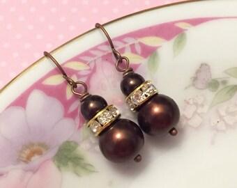 Brown Glass Pearl and Rhinestones Dangle Earrings, Simple Classic Short Drops