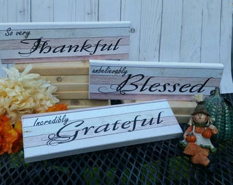 Thankful grateful blessed sign, grateful thankful blessed sign, thanksgiving decor, so very thankful, rustic kitchen decor, custom wood sign
