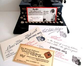 Vintage Office Supplies Ephemera Scrapbook Supply  Labels Ink Blotters Set of Five