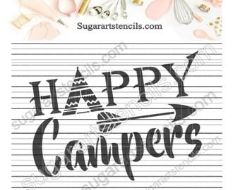 Happy campers teepee words cookie stencil JN0033