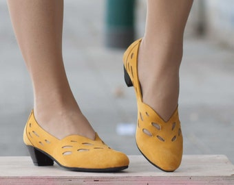 Leather Pumps, Leather Heeled Shoes, Handmade Shoes, Mary Jane, Summer Shoes, Yellow Shoes , Free Shipping