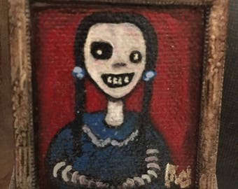 "Original Framed Miniature Acrylic Painting titled ""Lil' Bit""  2.5 x 2.75"
