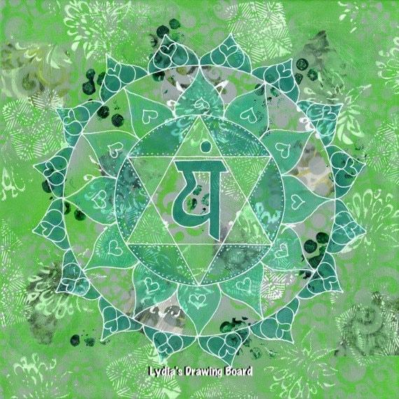 Chakra Art, Mandala Print, Yoga Art Print, Heart Chakra, Chakra, Yoga Studio Decor, Meditation Art, Mandala Art, Spiritual Wall Art, Boho