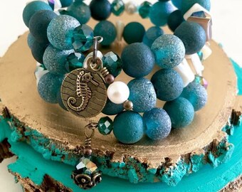 Teal Blue Frosted Glass Pearls Seahorse Shell Memory Wire Wrap Bracelet