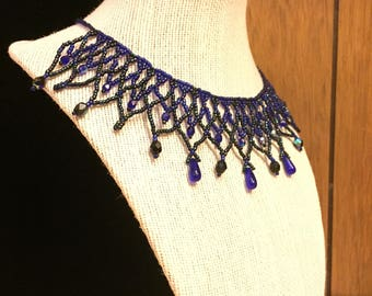 Blue/ Black Netted Lace Necklace