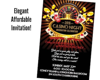 Qty. 25 CASINO NIGHT Party Invitations Vegas Party Invites Casino Game Party Invitation
