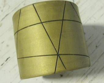 SALE Gold Cuff Bracelet, Geometric Abstract Modern Design, Handmade Jewelry by theshagbag