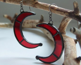 Red crescent moon earrings, witch earrings, goth earrings, wiccan earrings, pagan earrings, wicca earrings, occult earrings, boho earrings