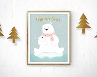 Mama bear, Giclee print, Giclee bear print, Polar Bear, Polar bear art, Nursery Art, Nursery Decor, Bear Art, Nursery Teddy Bear, Baby Gift