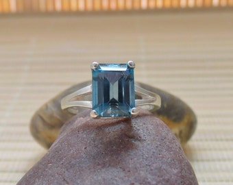 London Blue Topaz Emerald Ring Sterling Silver Solitaire December Birthstone