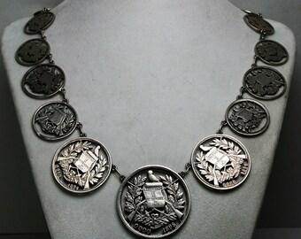 Antique Guatemala Silver Coin Necklace