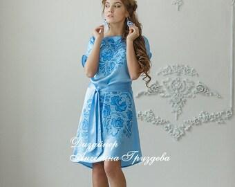 """Batik silk dresses, handmade. Russian style """" Gzhel """""""